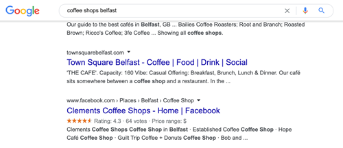 local search for belfast coffee shops facebook page indexed